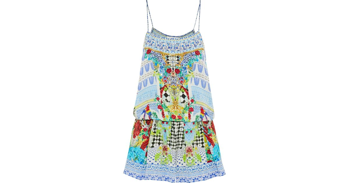 594dc59c672 Lyst - Camilla Woman Masking Madness Embellished Printed Silk Playsuit Blue  in Blue