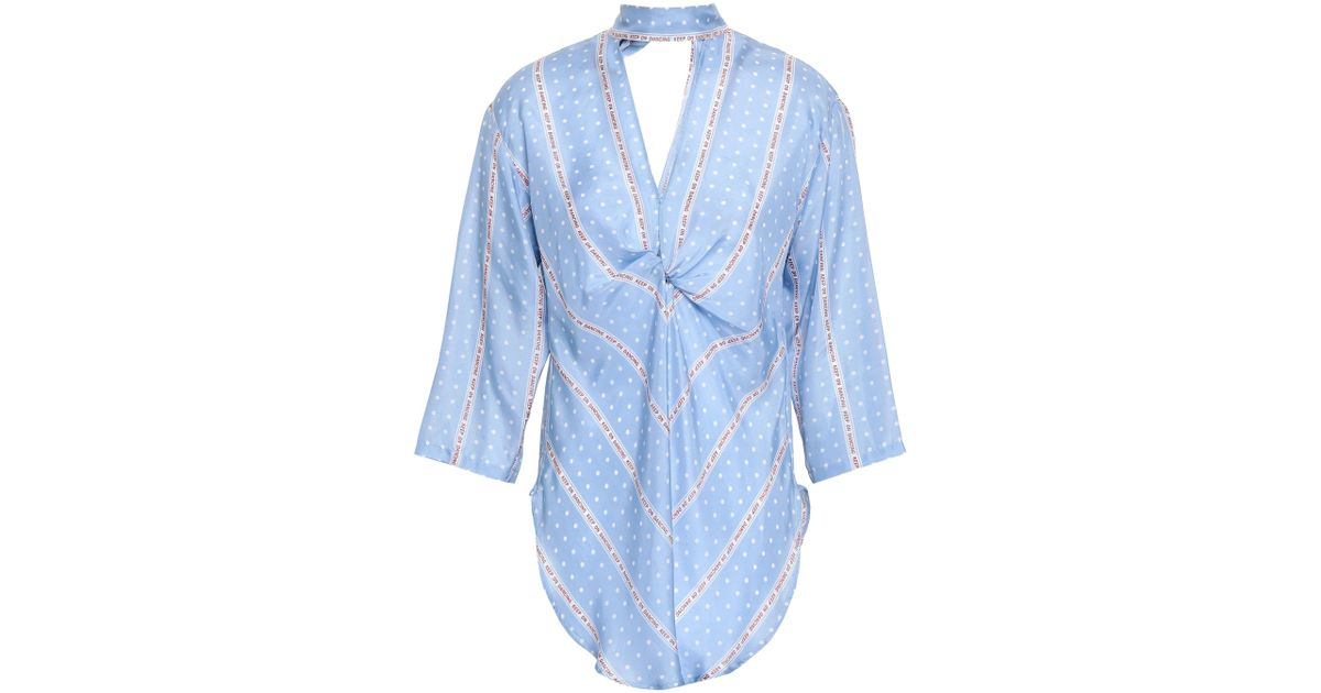 7fc3dee5aba8a7 Sandro Woman Cutout Twist-front Printed Silk Blouse Azure in Blue - Lyst