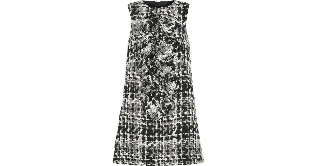 054854a78baf1e Lyst - Dolce   Gabbana Woman Ruffled Wool-blend Bouclé-tweed Mini Dress  Anthracite in Black
