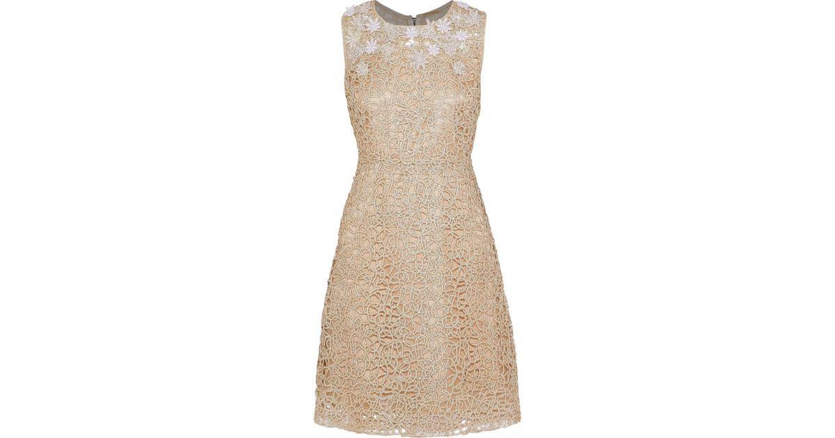 6df8c7fa Elie Tahari Woman Ophelia Embellished Metallic Guipure Lace Dress Gold in  Metallic - Lyst