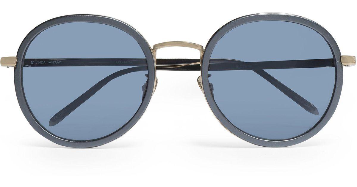 Azul Gafas acetato redonda sol tono y azul montura Linda de con Farrow dorado Lyst tormenta 6wHqTH