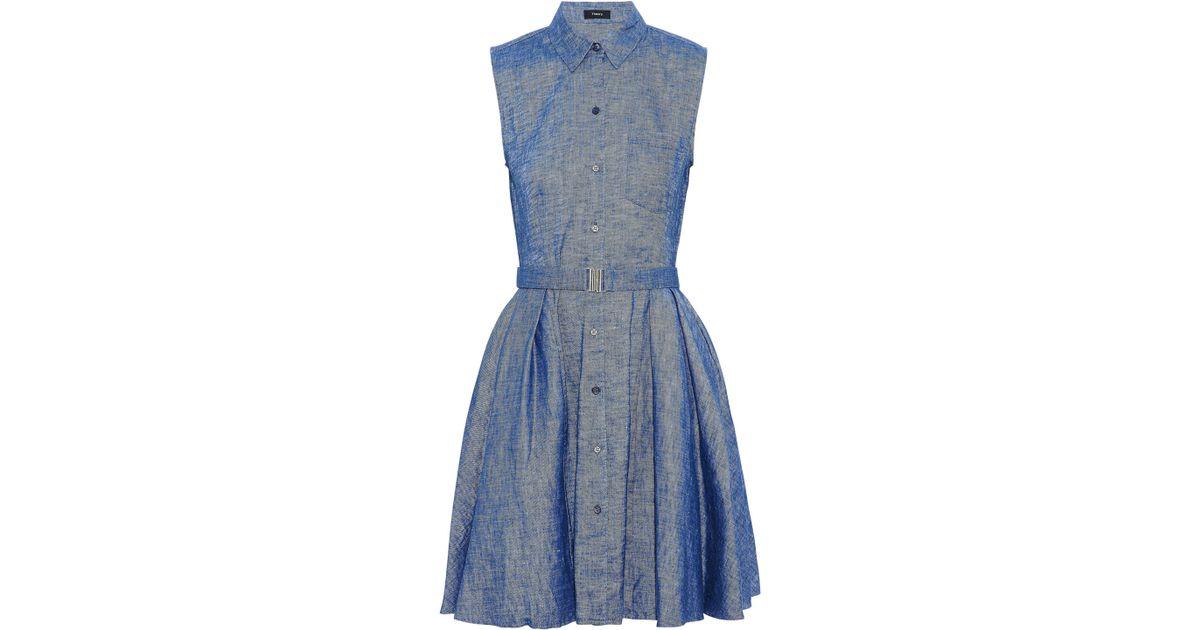 Theory Woman One-shoulder Ruffled Linen-blend Chambray Mini Dress Mid Denim Size 0 Theory WA2JbRYe