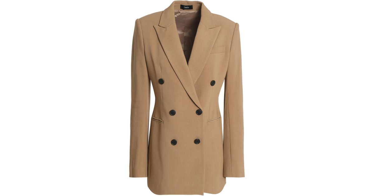 9cf60cf7c5 Theory Double-breasted Crepe Blazer in Brown - Lyst