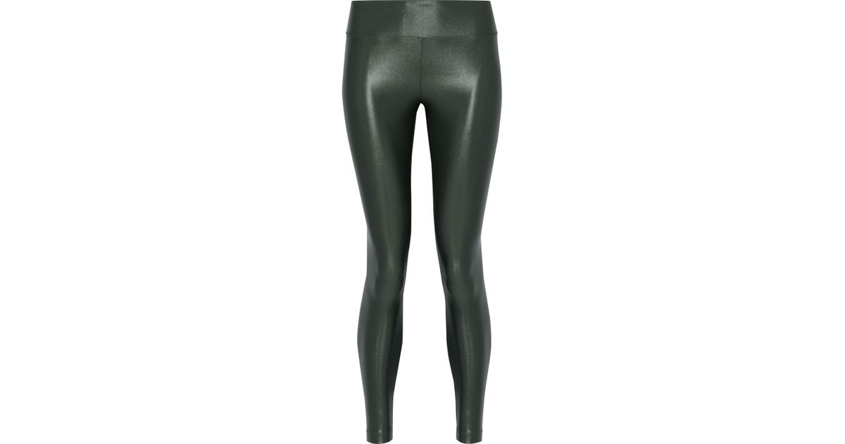a924ba8f05f1d Lyst - Koral Lustrous Coated Stretch leggings in Green