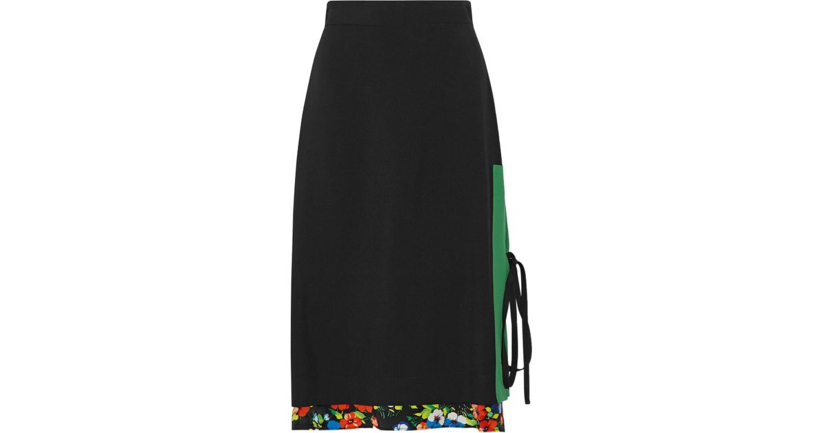 debf0a188f8 Lyst - MSGM Layered Printed Crepe Skirt in Black