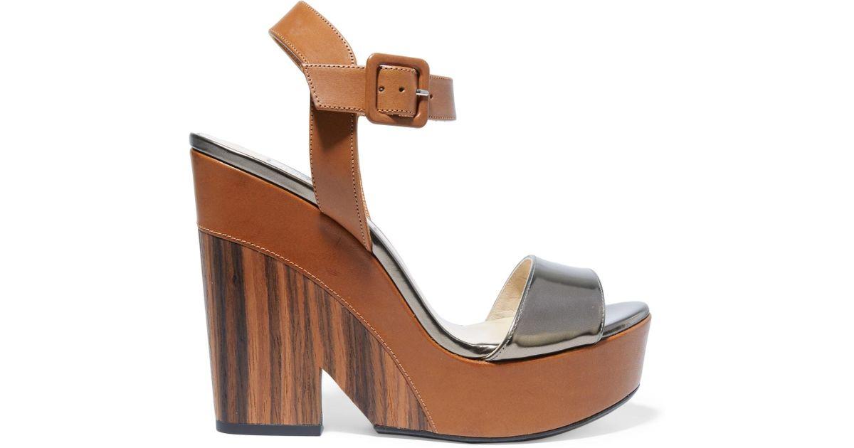 bbcb1f16a6c Lyst - Jimmy Choo Nico Metallic Leather Wedge Sandals in Brown