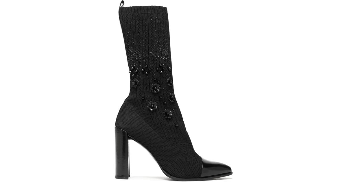 6f2c2a6638 Stuart Weitzman Embellished Patent-leather And Knitted Sock Boots in Black  - Lyst