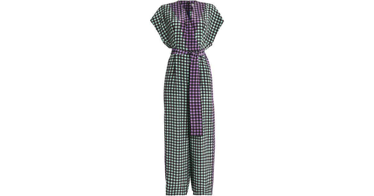 d30fed3470 Diane von Furstenberg Wrap-effect Gingham Silk Crepe De Chine Jumpsuit -  Lyst