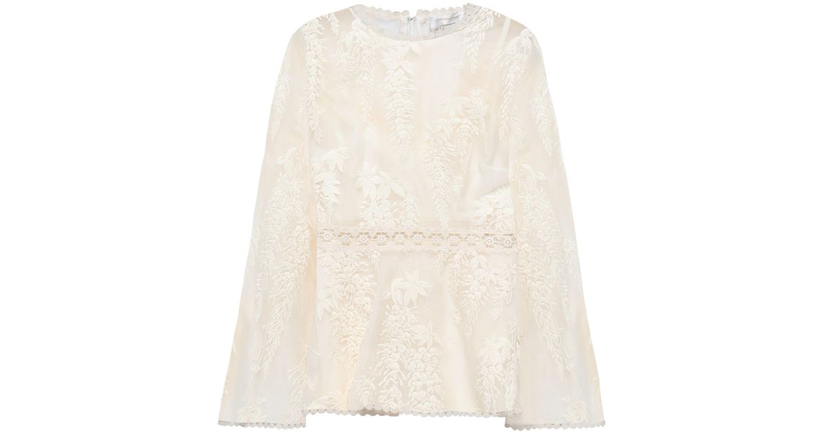 d85ef44fb69e8 Lyst - Zimmermann Woman Embroidered Silk-organza Top Ivory in White