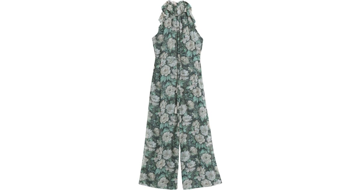 39600c9a15 Zimmermann Cropped Fil Coupé Floral-print Silk-blend Georgette Jumpsuit in  Green - Lyst