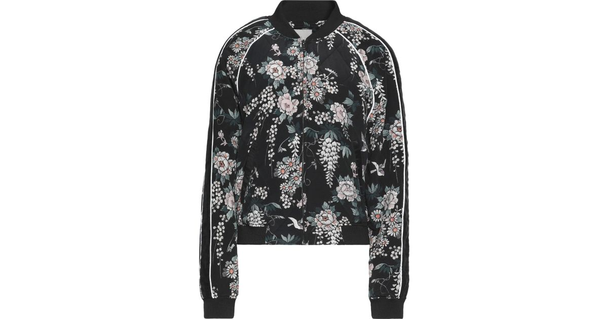 e7fcebe9acf Joie Mace Quilted Floral-print Silk Bomber Jacket in Black - Lyst