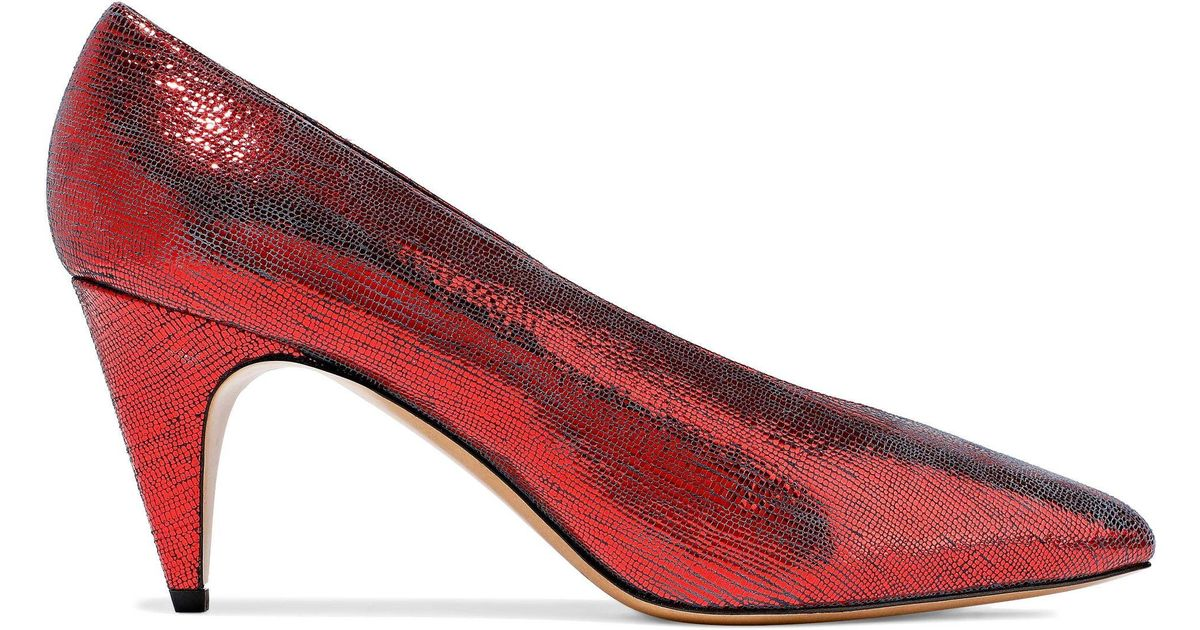 e2c65716f092 Isabel Marant Woman Metallic Lizard-effect Leather Pumps Red in Red - Lyst