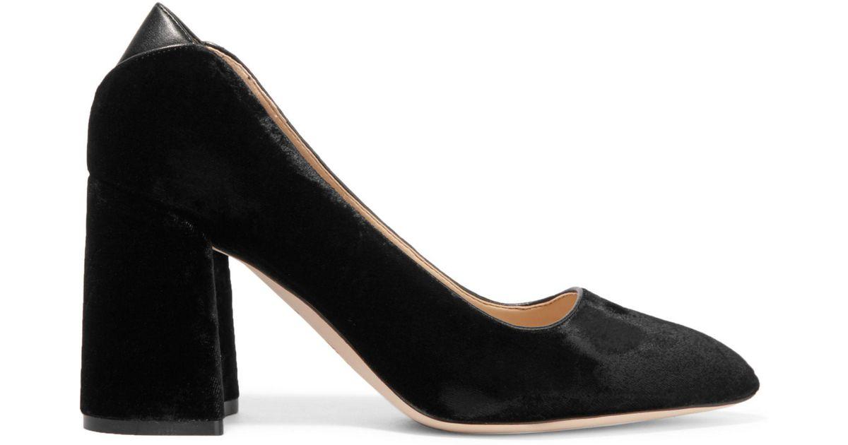 73877daf321d Lyst - Sam Edelman Kassidy Leather-trimmed Velvet Pumps in Black