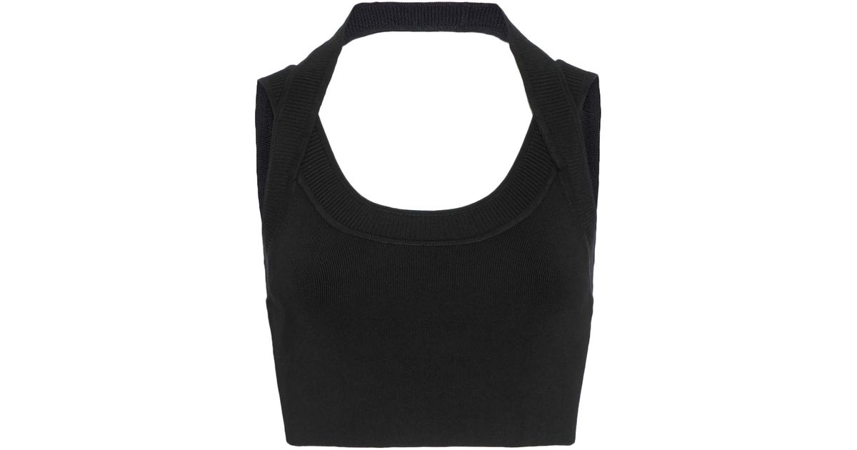 091a42d5aba T By Alexander Wang Woman Cropped Stretch-knit Halterneck Top Black in  Black - Lyst