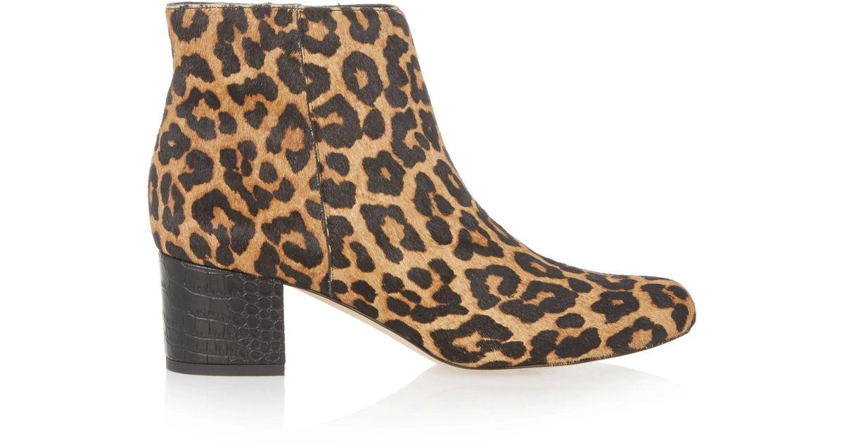 a0c0ed417fc8b Lyst - Sam Edelman Edith Leopard-print Calf Hair Ankle Boots in Brown