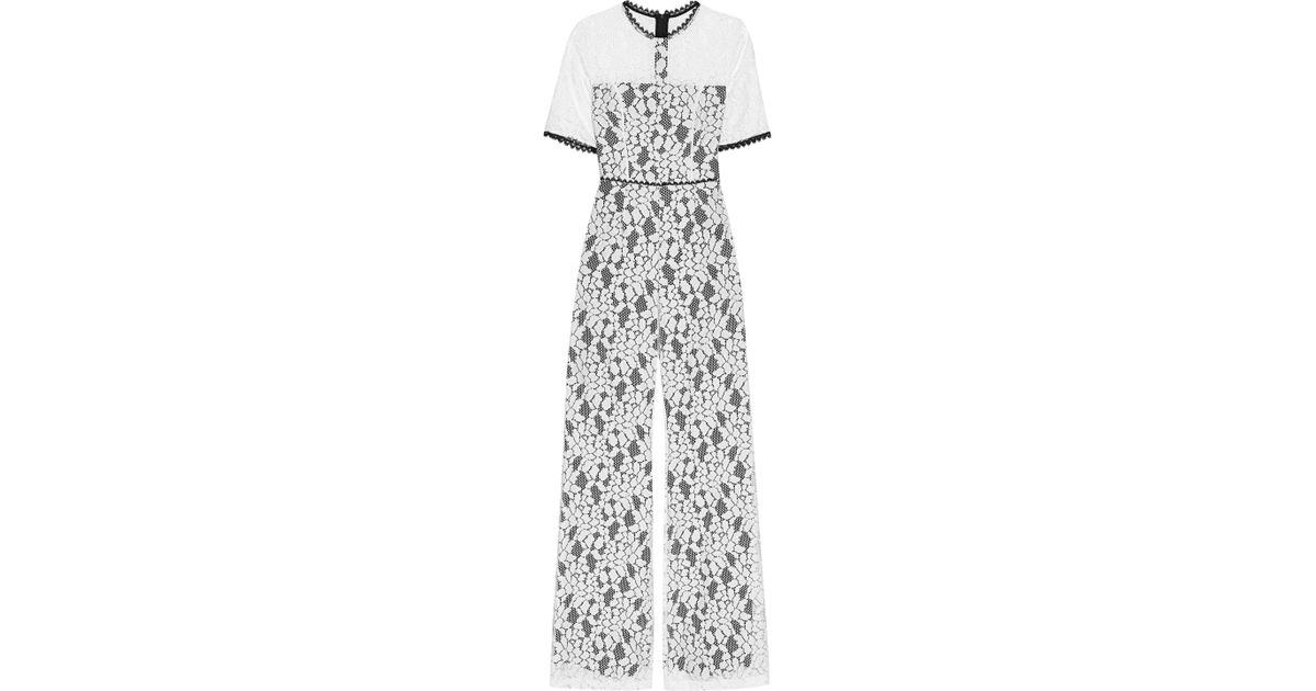 85d1f78aa7d Alexis Janus Cutout Corded Lace Jumpsuit in White - Lyst
