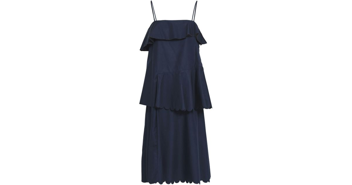 238ed79bf59 See By Chloé See By Chloé Woman Layered Scalloped Cotton-poplin Dress Navy  in Blue - Lyst