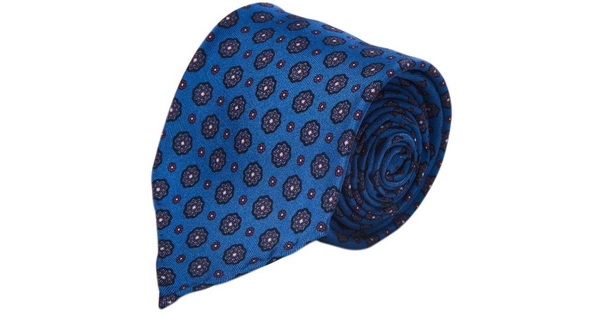 Blue Floral Five-Fold Silk Tie Fumagalli 1891 HoShiNs