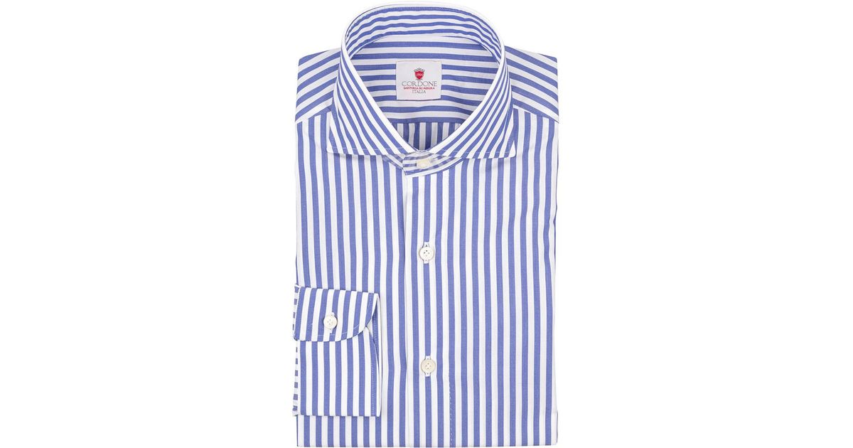 Discount Best Seller White and Blue Bold Stripe Dandy Cotton Shirt Cordone 1956 Sale 2018 Fast Express Bjh4j