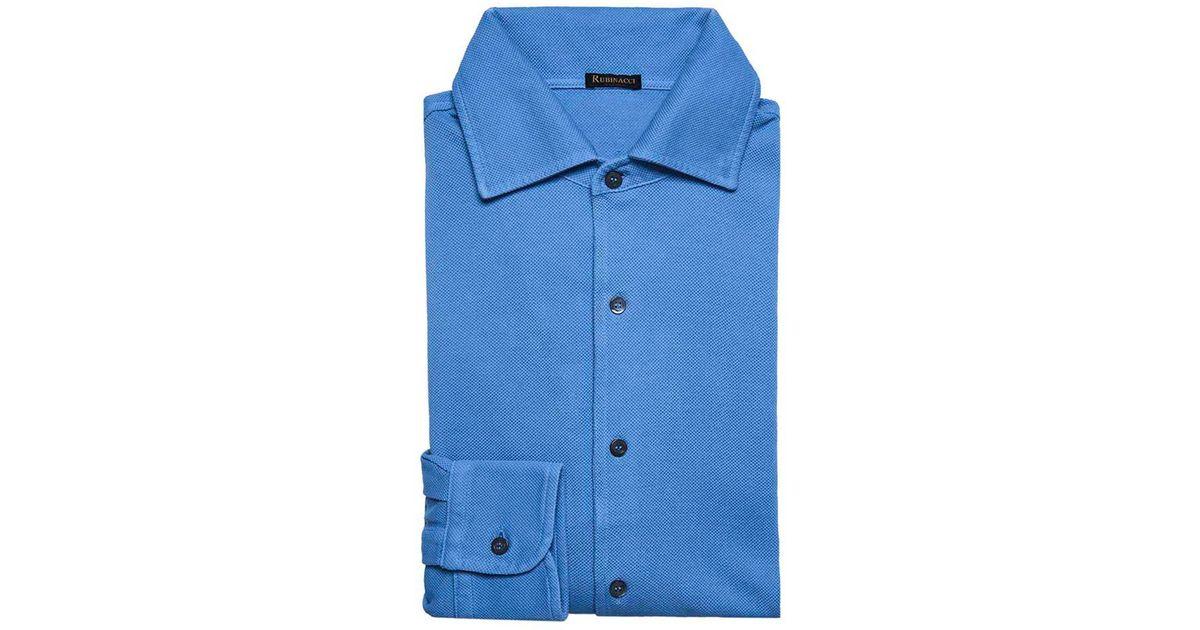 Light Blue Long Sleeve Polo Shirt Rubinacci Discount Low Price dUxgqay