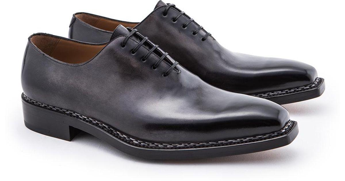 Black Square Toe Wholecut Leather Oxfords Paolo Scafora NgYVD6