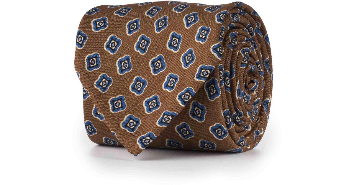 Brun Et Bleu Soie Fleur Abstraite Cravate Rubinacci hOMAat