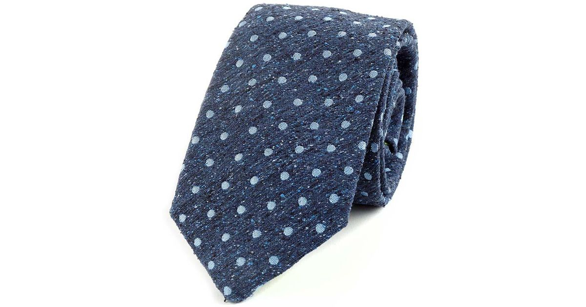 Navy and Sky Spot Noile Silk Tie Augustus Hare Cheap Largest Supplier Discount Pictures Enjoy Cheap Price VHHWGG