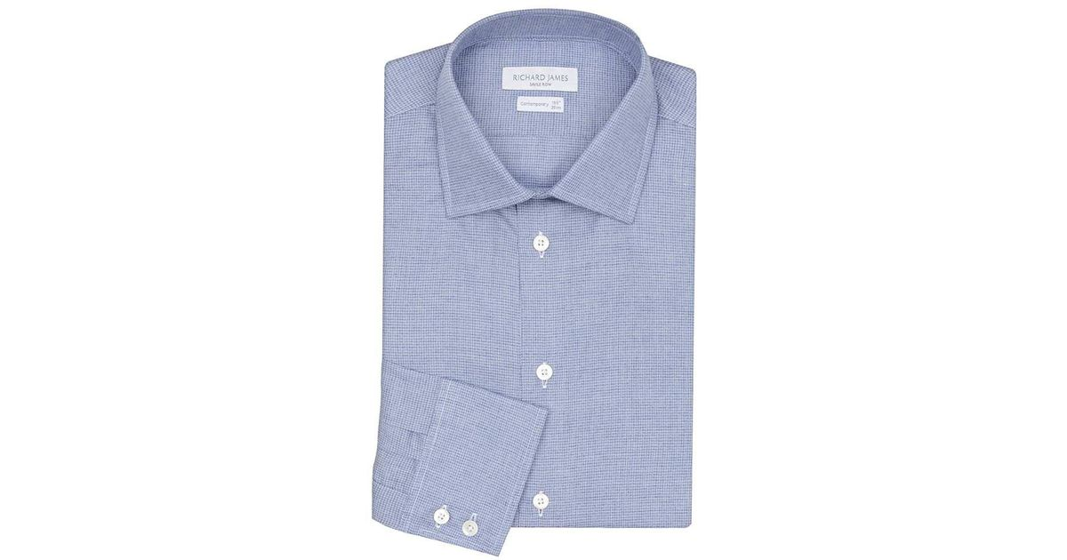 0bb42d4e6 Lyst - Richard James Blue Cotton Contemporary Blurred Dogtooth Shirt in Blue  for Men