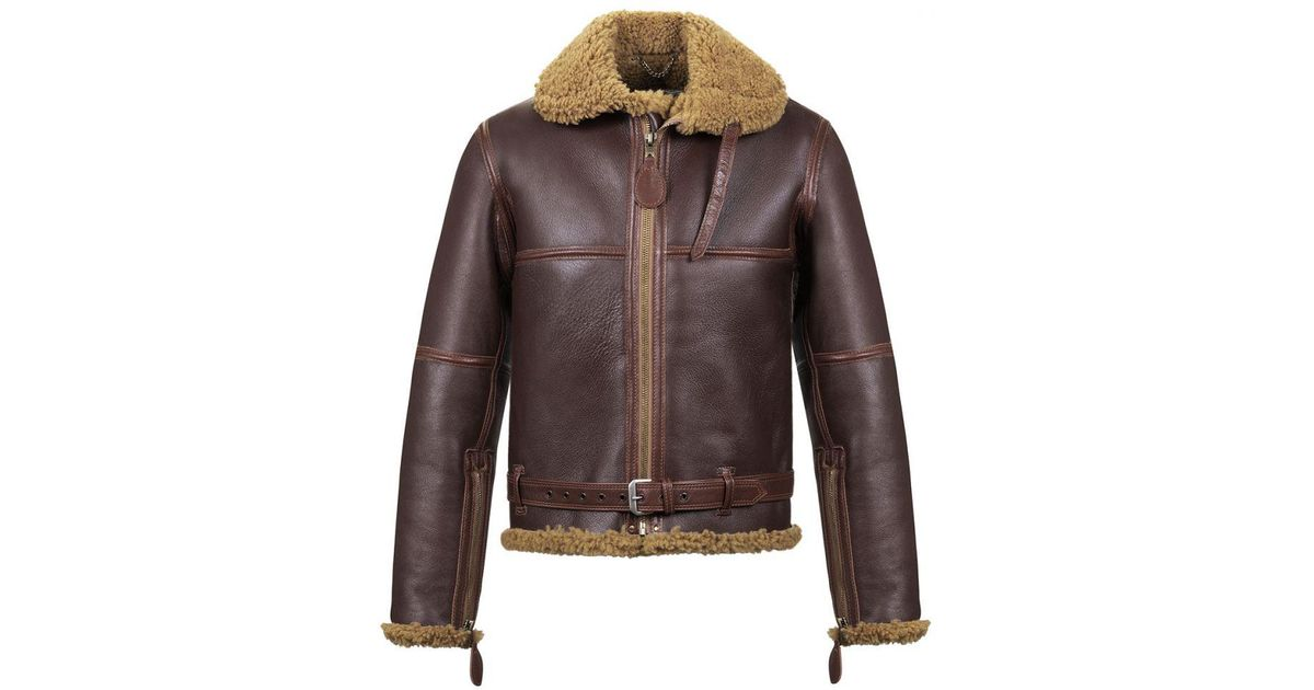 b2c968fca02 Lyst - Aero Leather Clothing Russet Brown Raf  battle Of Britain  Shearling Bomber  Jacket in Brown for Men