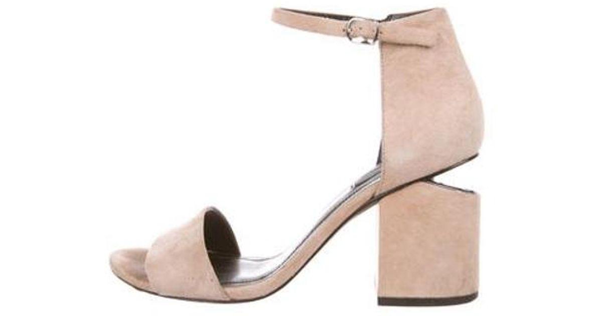 bec1e06e9033 Lyst - Alexander Wang Abby Suede Sandals Tan in Metallic