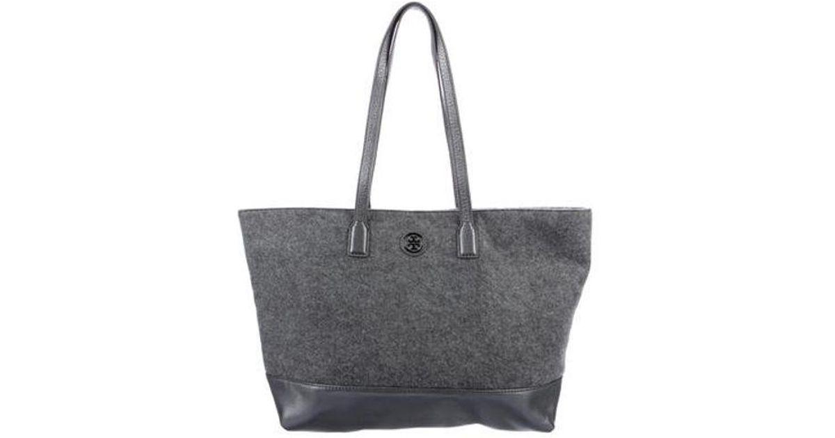 82a68c3dfc Lyst - Tory Burch Wool Ashley Shopper Tote Grey in Gray