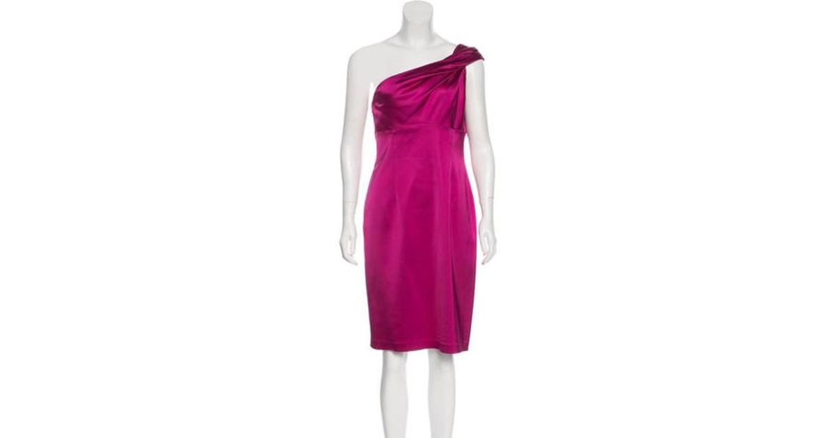 86445ea92aa Lyst - David Meister One-shoulder Satin Dress in Pink