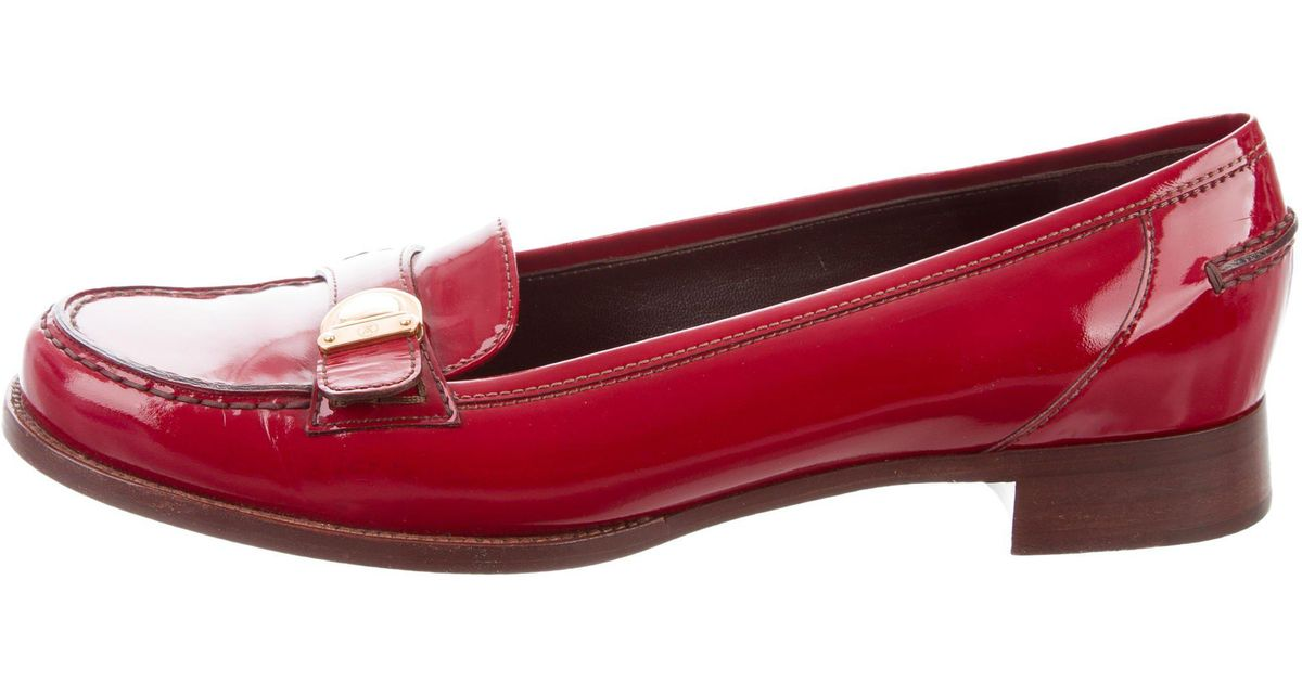 15c2b9353cd9 ... Lyst - Louis Vuitton Patent Leather Round-toe Loafers Red in ...