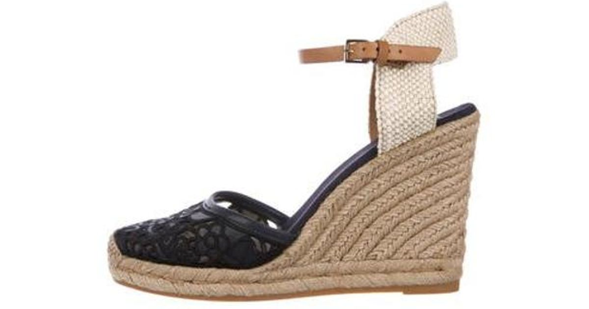 16721f032829 Lyst - Tory Burch Espadrille Wedge Sandals Navy in Metallic