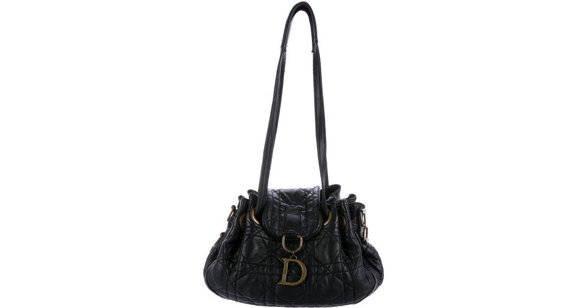 Lyst - Dior Cannage Drawstring Hobo Black in Metallic 595069dc9d029