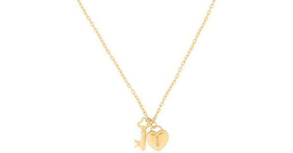 79ff675419c5c Tiffany & Co - Metallic Puffed Heart Lock Key Pendant Necklace Yellow - Lyst