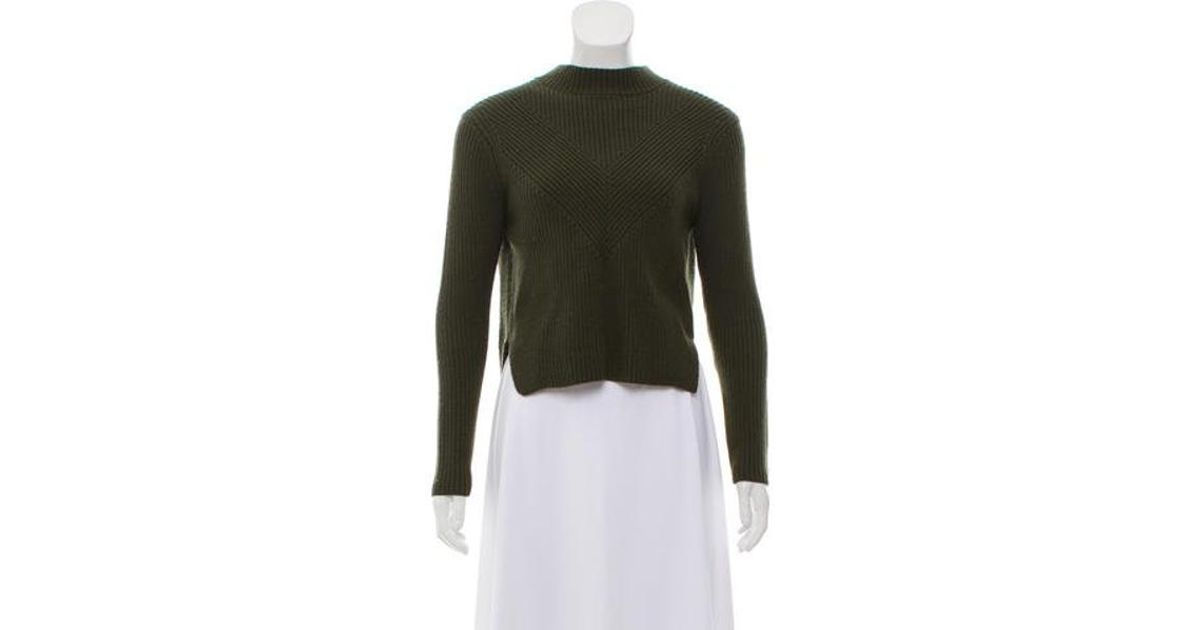 Lyst Sandro Cropped Zip Up Sweater In Green