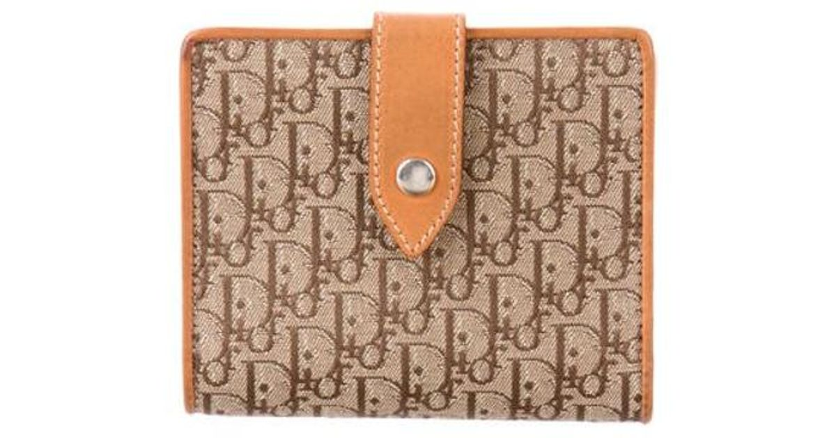 921e280aa4c Lyst - Dior Leather-trimmed Diorissimo Wallet Beige in Metallic