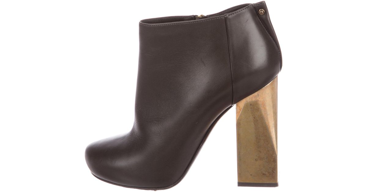 Lanvin Leather Round-Toe Booties outlet sneakernews uzHfpU