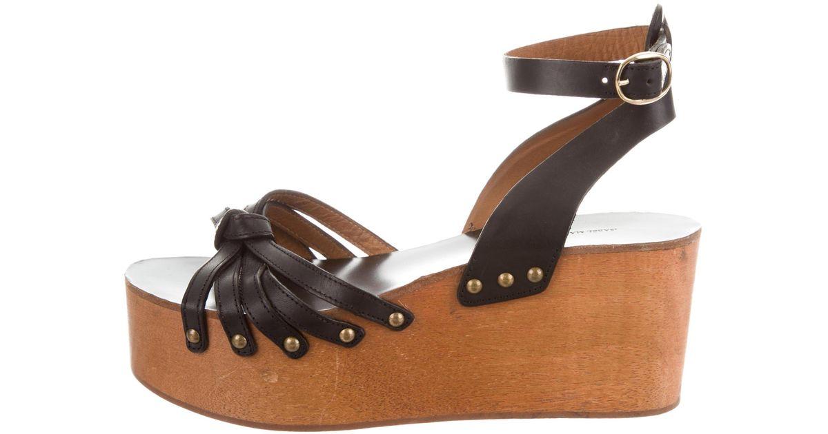 53931ba7697 Lyst - Étoile Isabel Marant Leather Wedge Sandals in Black