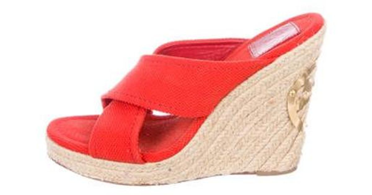 78b1a23a512 Tory Burch - Red Crossover Espadrille Wedges - Lyst
