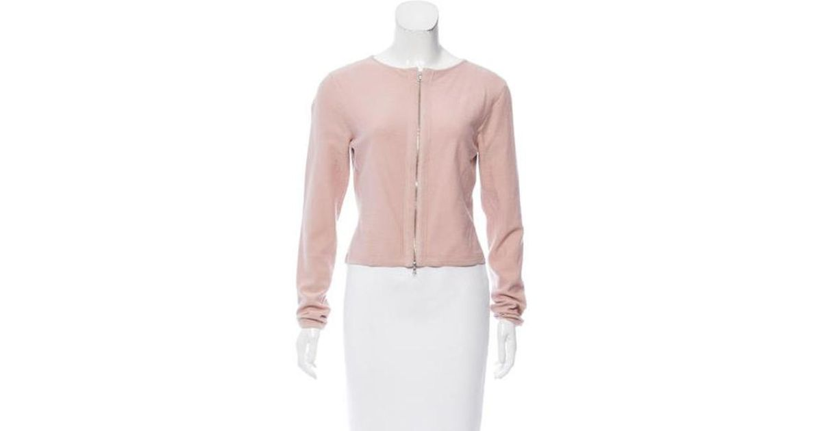 8216f6f665 Lyst - Narciso Rodriguez Long Sleeve Wool Cardigan in Pink