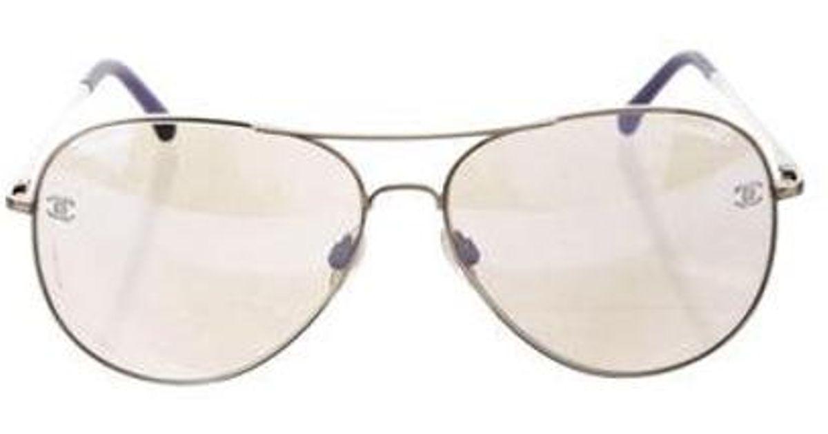 3068e281b723 Lyst - Chanel Cc Pilot Sunglasses Silver in Metallic