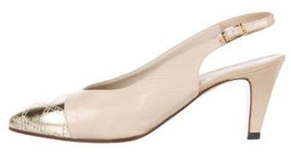 09c9fecd4c3 Authentic Second Hand Chanel Cap Toe Slingback Sandals (PSS-575-00039)