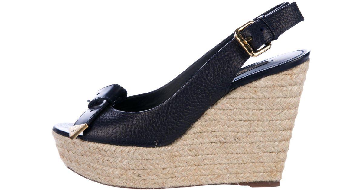 088c2c3365 Louis vuitton slingback espadrille wedge sandals navy in metallic lyst jpeg  1200x630 Authentic fendi espadrille wedge