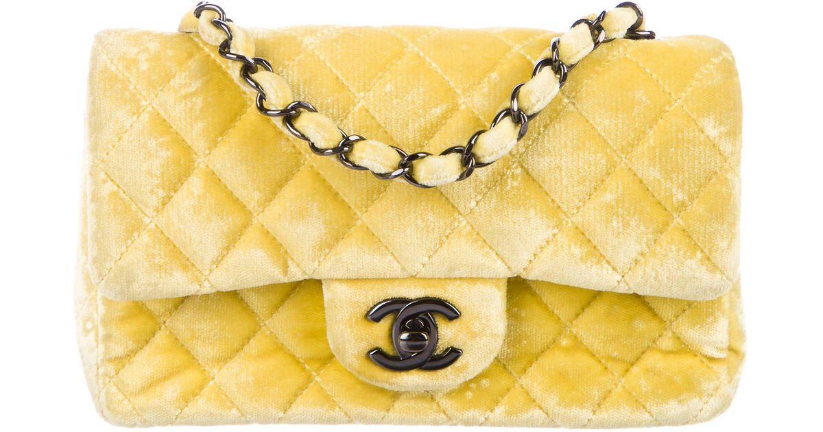 05e41224d24e42 Lyst Chanel Velvet Classic New Mini Flap Bag In Yellow