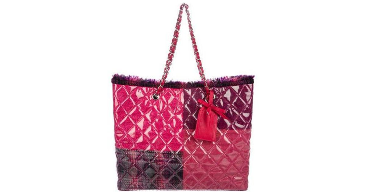 bf0e96e3bdb7 Lyst - Chanel Funny Tweed Patchwork Tote Pink in Metallic