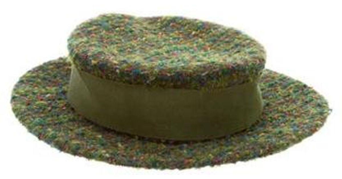 b5d9a7de6f3 Lyst - Chanel Brimmed Tweed Hat in Green