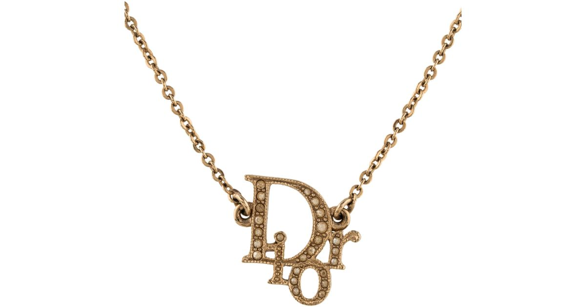aa3d173d35f323 Lyst Dior Logo Strass Pendant Necklace Gold In Metallic