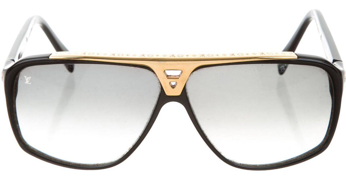 ff3a309e150 Lyst - Louis Vuitton Evidence Aviator Sunglasses in Black